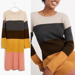 NWT Madewell Colorblock Midi Sweater Dress Striped